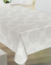 Rond tafelzeil grijze cirkels op wit (140cm)