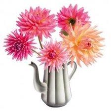 Raamsticker flat flowers dahlia koffiepot
