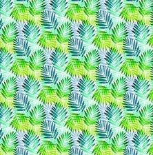 50x140cm Restje tafelzeil palmbladeren groen/blauw