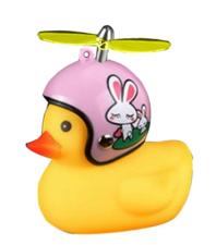 Badeend met helm roze konijn fietslamp/toeter (met propeller)