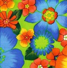 SALE Mexicaans tafelzeil rain of flowers groen 125x120cm