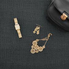 30x140cm Restje tafelzeil tweed zwart antraciet