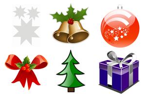 Set grote Kerst stickers mix 6 stuks 20x20cm