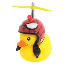 Badeend met rode helm spinnenweb fietslamp/toeter (met propeller)