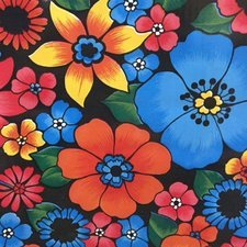 SALE Mexicaans tafelzeil rain of flowers zwart 120x120cm