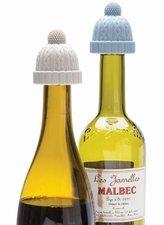 Beanie flessenstop set blauw/grijs