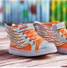 Maat 25: Ledschoenen 'Wings' fluor oranje/zilver