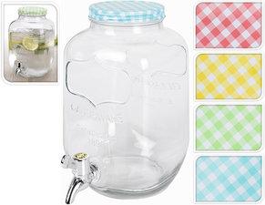 Glazen waterkan met tapje (3,9L) geel