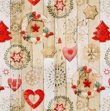 50x140cm Restje tafelzeil kerstkransen
