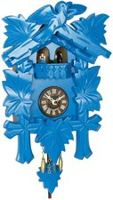 Moderne houten koekoeksklok blauw (met geluid)