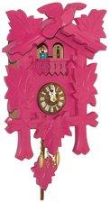 Moderne houten koekoeksklok roze (met geluid)