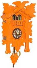 Moderne houten koekoeksklok oranje (met geluid)