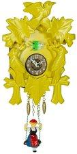 Houten koekoeksklok met geluid (geel)