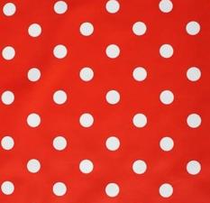 50x140cm Restje tafelzeil rood met witte stippen