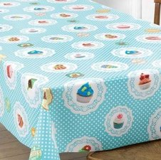 Ovaal tafelzeil cupcake lichtblauw