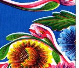 30x120cm Restje Mexicaans tafelzeil floral blauw