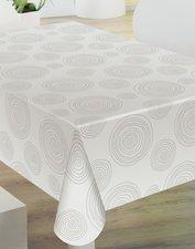 30x140cm Restje tafelzeil grijze cirkels op wit