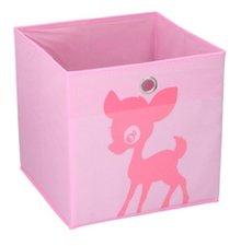 Opbergmand kinderen roze hert (28x28cm)