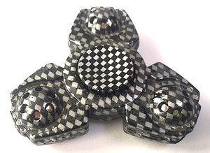 Fidget spinner 3 blade carbon zwart/zilver