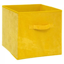 Opbergdoos velvet geel 31x31x31cm