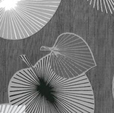 30x140cm Restje tafelzeil bladeren grijs/zilver