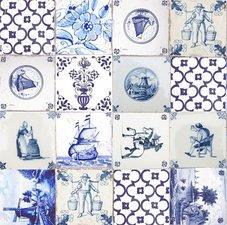 90x140cm Restje tafelzeil delftsblauwe tegeltjes