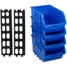 Opbergbakjes blauw kunststof (4 stuks)