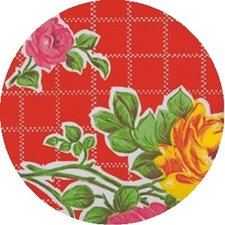 Rond Mexicaans tafelzeil rosendal rood (120cm)