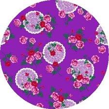 Rond tafelzeil funky flowers paars (140cm)