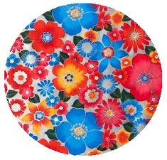 Rond Mexicaans tafelzeil rain of flowers zilver (120cm)