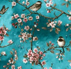 45x140cm Restje tafelzeil vogels Japans blauw