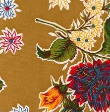 Rond Mexicaans tafelzeil chrysant goudbruin (120cm)