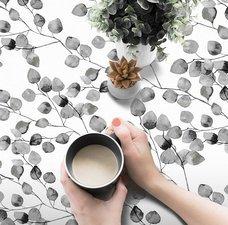 40x140cm Restje tafelzeil bladeren grijs/wit