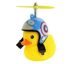 Badeend met blauwe helm fietslamp/toeter (met propeller)