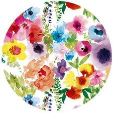 Groot rond tafelzeil gekleurde bloemen (160cm)