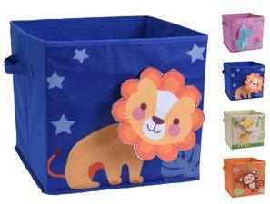 Opbergmand kind 3D leeuw blauw (32x32x30cm)