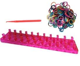 Roze loombord met loom elastiekjes