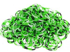 200 loom bands confetti zwart/groen/geel