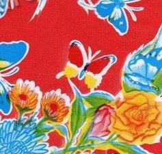 Rond Mexicaans tafelzeil vlinder rood (120cm)