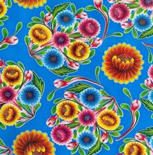 Rond Mexicaans tafelzeil floral blauw (120cm)