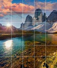 Foto tegelsticker 15x15 'zonsondergang bij meer' 90x75 cm hxb
