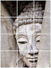 Foto tegelsticker 15x15 'Boeddha in hout' 60x45 cm hxb