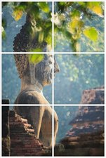 Foto tegelsticker 15x15 'Boeddha in de natuur' 45x30 cm hxb