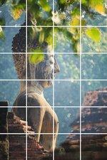 Foto tegelsticker 15x15 'Boeddha in de natuur' 90x60 cm hxb