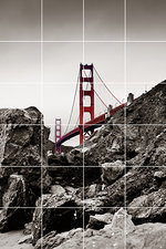 Foto tegelsticker 15x15 'Golden gate bridge' 90x60 cm hxb