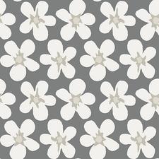 Rond tafelzeil big flower grijs/wit 140cm