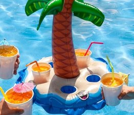 Opblaas drankhouder voor 5 drankjes palm