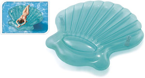 Opblaasbare schelp luchtbed blauw 191x191x25cm