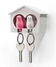 Qualy sleutelkastje 2 vogels roze/wit