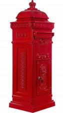 Kolom brievenbus met kroontje rood